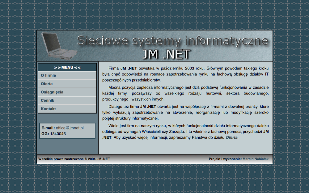Website of JM .NET Company