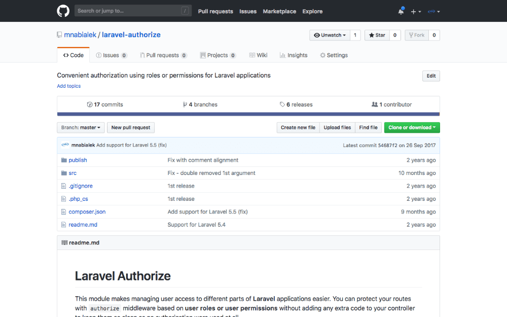Composer package: Controllers authorization in Laravel