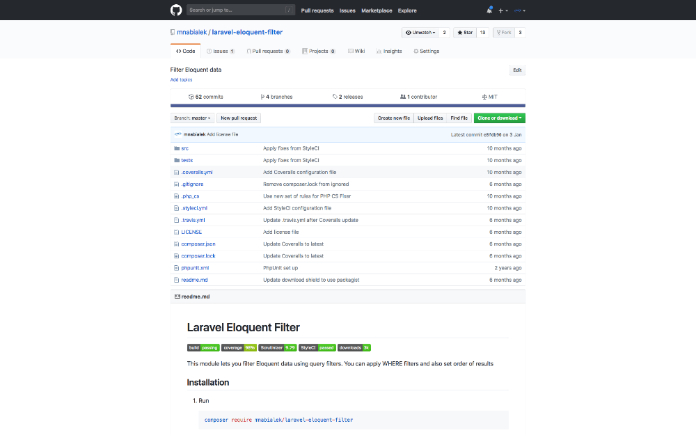 Composer package: Laravel data filtering