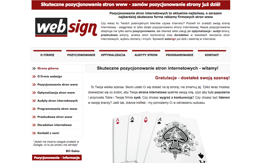 Websign company website
